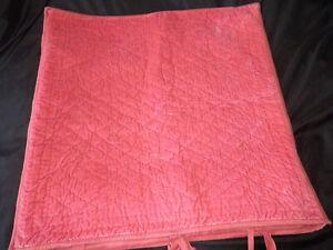 Pottery Barn Velvet Silk Diamond Quilted Pick Stitch Euro Sham Pair Orange Tie