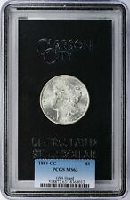 1884 CC $1 Morgan Silver Dollar GSA Hoard PCGS MS63 with COA & Box