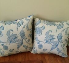 Beautiful Home Decor Bedding/Sofa Throw Pillows Linen w/ Blue Suede Perfect!