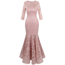 Angel-fashions Women's Floral Lace 3/4 Sleeve Mermaid Bodycon Wedding Dress 416