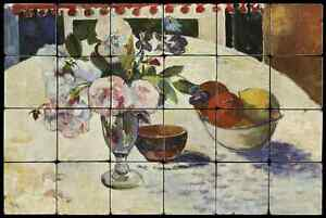 24x16 Flowers Backsplash Mural Tumbled Marble Tiles Kitchen idea Paul Gauguin