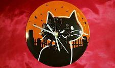 Halloween Black Cat Plate Wall Clock with Glow in the Dark Hands Halloween Decor