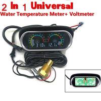 Car LCD 2 in 1 Car Truck Water Temperature Gauge Meter Voltmeter Voltage Gauge