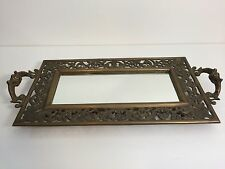 "Vintage Heavy Solid Brass Mirror Tray Centerpiece w/Handles, 19"" x 9 1/4"" -Tray"