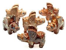 CARVED - Red DOLOMITE FLYING PIG Spirit Animal Totem w/Card- Healing Stone