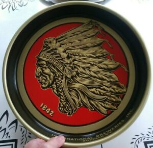 Vintage Iroquois Buffalo NY Indian Head Beer Bronze & Red Tray / Man Cave Art