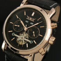 Mens Watch Mechanical Automatic Black Leather Self-winding Date Display Luxury
