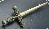 Antique SOLID SILVER GILT & Persian Turquoise SWORD BROOCH - Austro Hungarian?