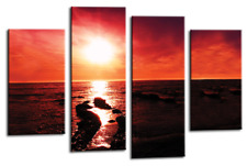 Sunset Beach Wall Art Red Yellow Brown Sea Sand Seascape Canvas Split Picture