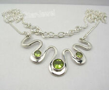 "925 Sterling Silver GREEN PERIDOT Curb Chain Necklace 17 1/8"" 9.3 Grams"