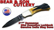 Bear & Son Damascus Stag Mini Executive Lockback 540D