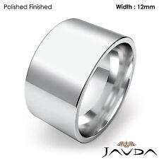 Men Wedding Band Comfort Flat Pipe Cut High Polish Matte Ring 12mm Platinum 25gm