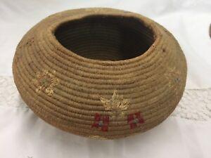 Antique Eskimo Basket with wool