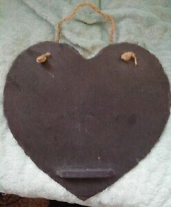 Large 29cm Handmade Slate Hanging Heart Blackboard / Memo Board ,Chalk Shelf
