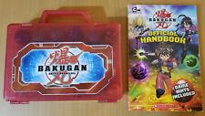 Bakugan Battle Brawlers lot case, 10 balls, 9 cards, official handbook