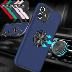 For iPhone 12 11 Xr 7 Plus 8 Stand Ring Holder Back Armor Phone Case Hard Cover