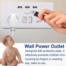Double Wall UK Plug Socket 2 Gang 13A with 3 USB Ports Screwless Slim Flat Plate