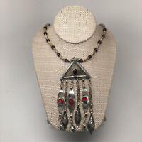 Old Vintage Afghan Turkmen Tribal Triangle Gold-Gilded Pendant Necklace, TN31