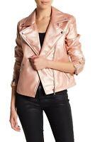 NEW Bagatelle Faux Leather Moto Biker Jacket Rose Pink Metallic Snap Full Zipper