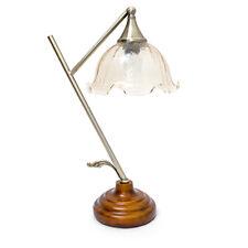 Tischlampe Floral mit Holzstandfuß für E27 Leuchtmittel Glaslampenschirm Blume