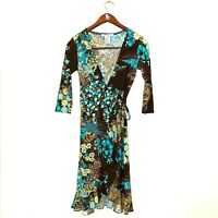 Nine West | Patterned Floral Ruffle Stretch Wrap Dress Size 2