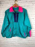 Columbia Women's Large Vintage 80's Wind Jacket Radial Sleeves Teal & Hot Pink