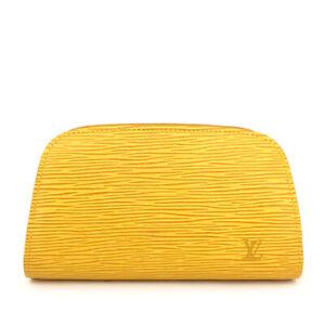 Louis Vuitton Epi Douphine Yellow Leather Cosmetics Pouch Purse/F1078