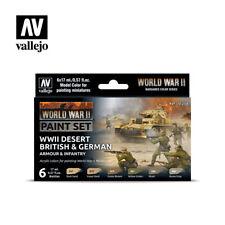 WWII Desert & German Armor Infantry 17ml  6 PAINT Vallejo MODELING SET 70208