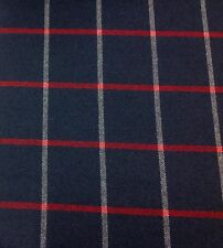 Robert Allen Wool Check Upholstery Fabric Helios Plaid Navy Blazer 1.0 yd 231404