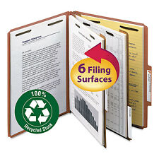 """Smead Pressboard Classification Folder 2"""" Exp. Two Dividers Letter Red 10/Box"""
