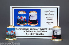 Great War Centenary 1914-2014 WW1 Gold Top Set of 2 Ltd Ed Thimbles +Cert B/139