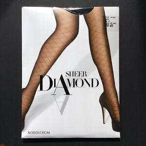 Nordstrom Sheer Diamond Pantyhose Size D Black Control Top Sandalfoot 20 Denier
