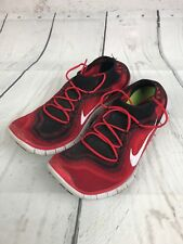 USED Mens Nike Free 5.0 Flyknit Running Shoes Game Red 615805-016 Size 12.5