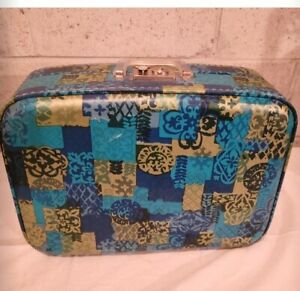 """Vintage 16"""" Travel Hard side Suitcase Carry On Blue Gold Retro 16""""x12""""x4"""""""