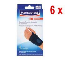 6 x Hansaplast Sport - Verstellbares Neopren-Armband - 1 Stück - schwarz