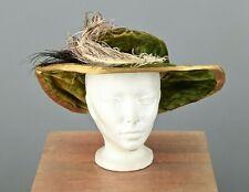 Vtg Women's Antique Teens Green Velvet Hat W Feathers 1910s