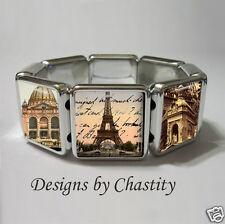 Paris Bracelet Altered Art Photo Image France Eiffel Tower Vintage Post Card