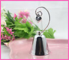 Silver Bell Name Card Stand Wedding bomboniere heart loop 9.5cm tall BUY QTY RQD