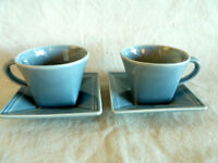 Williams-Sonoma 2 Hudson Blue Cup/Saucer Sets  Square  Portugal
