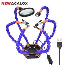 NEWACALOX 6pc Flexible Arms 3X-5X Magnifier USB LED Soldering Helping Hand Tool