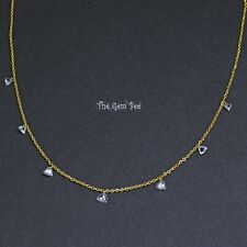 """14K Gold Drilled Floating White Diamond Trillion Cut Briolette Bead Necklace 18"""""""