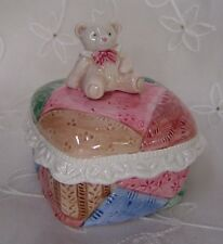 Fitz & Floyd Patchwork With Ruffled Lace & Teddy Bear Trinket Box 1992