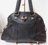 .Auth YSL YVES SAINT LAURENT Black Leather Large Muse Bag