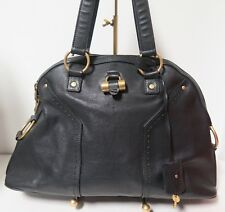 .Auth YSL YVES SAINT LAURENT Black Leather Large Muse Bag