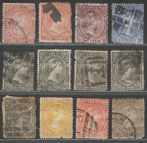 Falkland Islands 1891 Queen Victoria Part Set to 1sh Used MOSTLY FAULTY