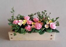 Pink Geranium Flowers in Window Box, Dollhouse Miniature 1:12