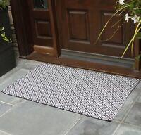 NANTA Black and White Diamond Rug Cotton Indoor Outdoor Washable Geometric Rug