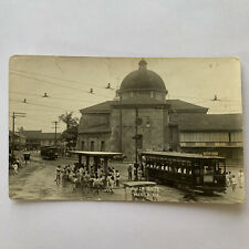Antique RPPC Real Photograph Postcard Plaza Goite Manila Philippians Trolley Car