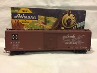 Athearn #5053 HO Scale Santa Fe 50' Single Door Boxcar #11025 Steel Wheels & KDs