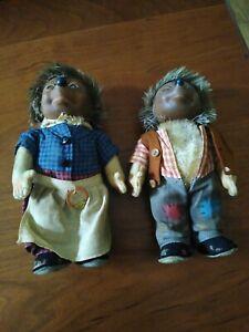 Vintage Steiff Mecki and Micki Hedgehog Dolls Germany